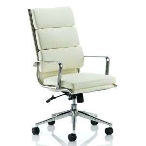 Savoy Executive High Back Chair Ivory Bonded Leather With Arms
