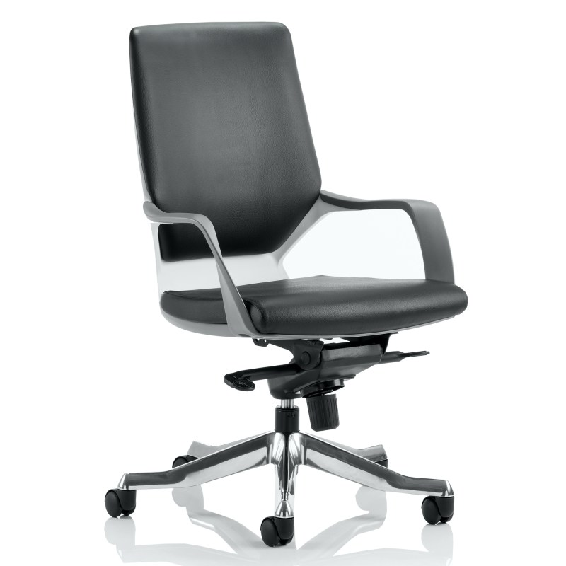 Xenon Executive White Shell Medium Back Black Leather With Arms
