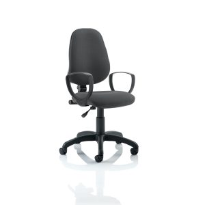 Eclipse I Lever Task Operator Chair Charcoal With Loop Arms