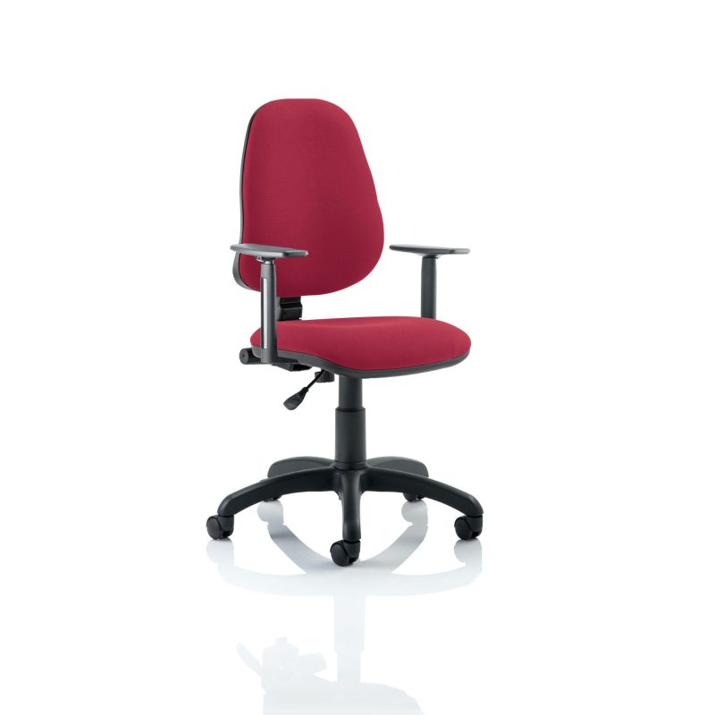 Eclipse I Lever Task Operator Chair Wine With Height Adjustable Arms
