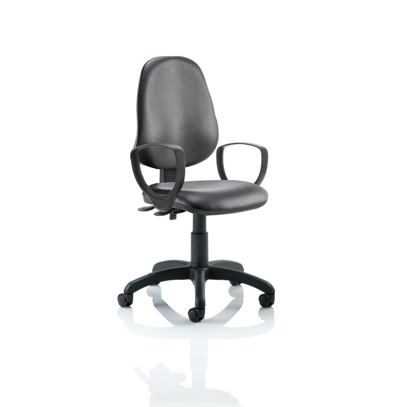 Eclipse II Lever Task Operator Chair Vinyl Black With Loop Arms