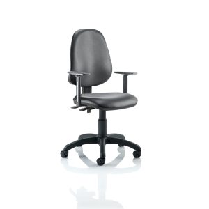 Eclipse II Lever Task Operator Chair Vinyl Black With Height Adjustable Arms