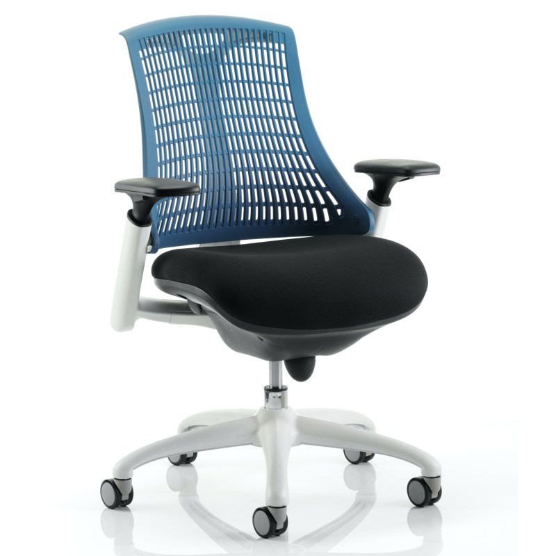 Flex Task Operator Chair White Frame Black Fabric Seat With Blue Back With Arms