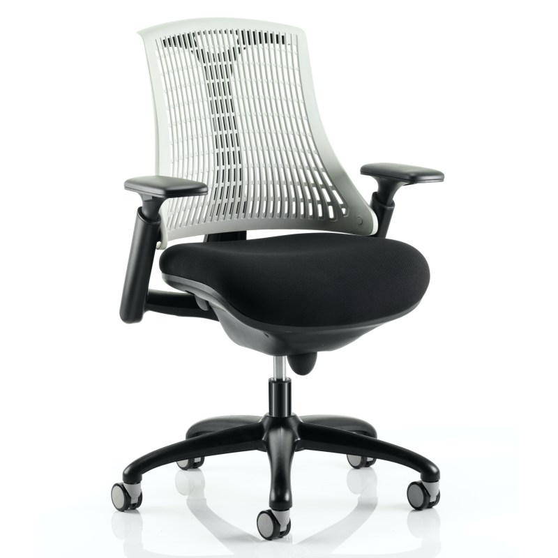 Flex Task Operator Chair Black Frame With Black Fabric Seat Moonstone White Back With Arms
