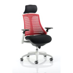 Flex Task Operator Chair White Frame Black Fabric Seat With Red Back With Arms With Headrest
