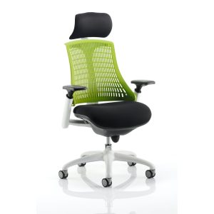 Flex Task Operator Chair White Frame Black Fabric Seat With Green Back With Arms With Headrest