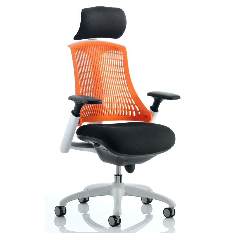 Flex Task Operator Chair White Frame Black Fabric Back With Orange Back With Arms With Headrest