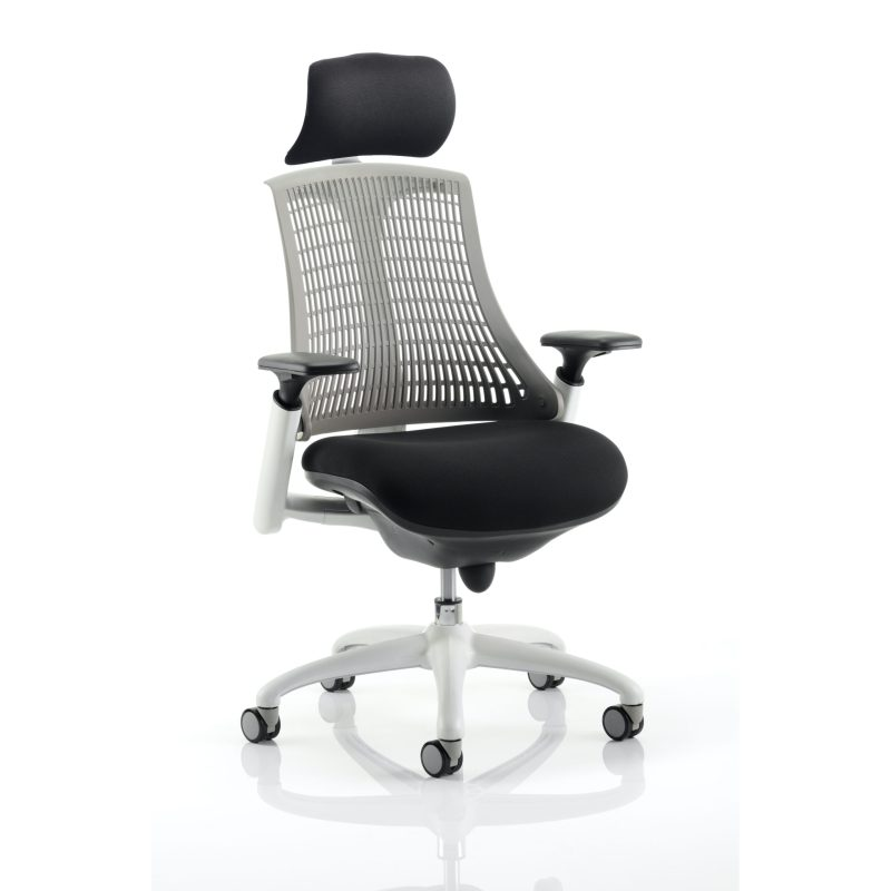 Flex Task Operator Chair White Frame Black Fabric Seat With Grey Back With Arms With Headrest