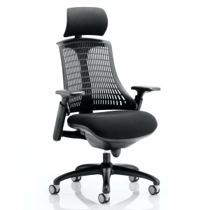 Flex Task Operator Chair Black Frame With Black Fabric Seat Black Back With Arms With Headrest