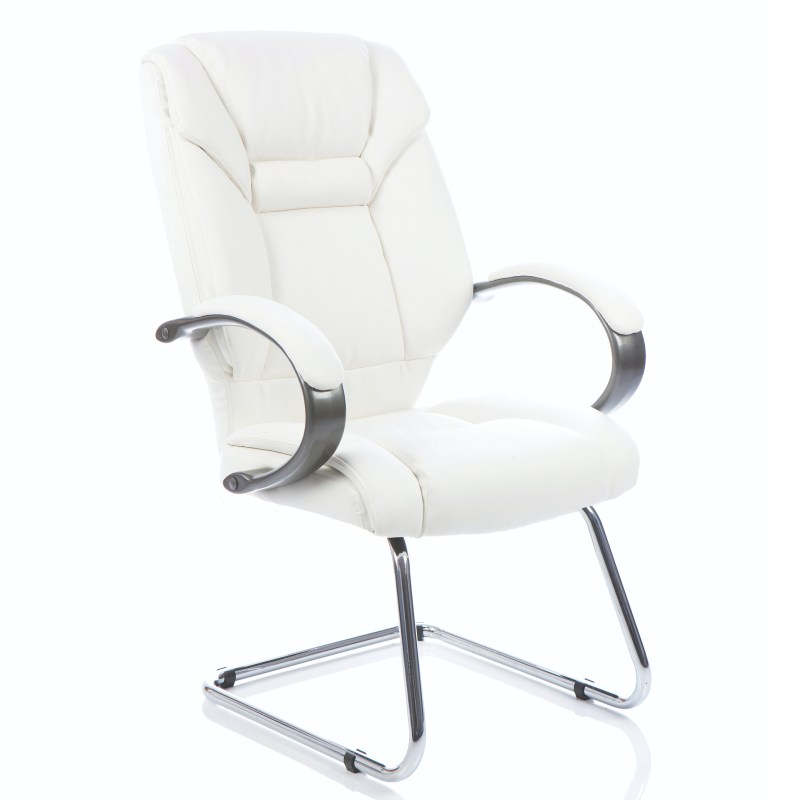 Galloway Cantilever Chair White Leather With Arms