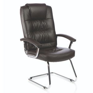 Moore Deluxe Visitor Cantilever Chair Brown Leather With Arms