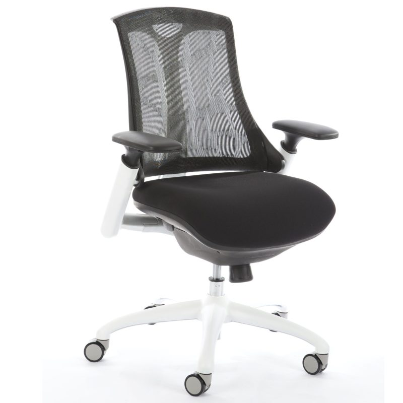 Flex Task Operator Chair White Frame Black Fabric Seat With Black Mesh Back With Arms