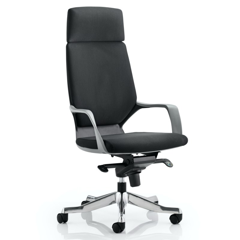 Xenon Executive Black Shell High Back Black Fabric With Headrest