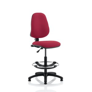 Eclipse I Lever Task Operator Chair Wine With Hi Rise Draughtsman Kit