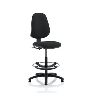 Eclipse II Lever Task Operator Chair Black With Hi Rise Draughtsman Kit