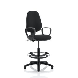 Eclipse II Lever Task Operator Chair Black With Loop Arms With Hi Rise Draughtsman Kit