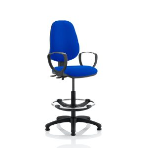 Eclipse II Lever Task Operator Chair Blue With Loop Arms With Hi Rise Draughtsman Kit