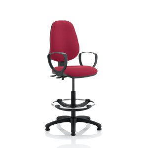 Eclipse II Lever Task Operator Chair Wine With Loop Arms With Hi Rise Draughtsman Kit