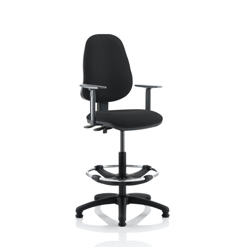 Eclipse II Lever Task Operator Chair Black With Height Adjustable Arms With Hi Rise Draughtsman Kit