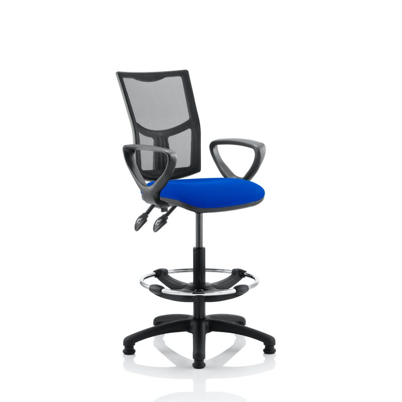 Eclipse II Lever Task Operator Chair Mesh Back With Blue Seat With loop Arms With Hi Rise Draughtsman Kit