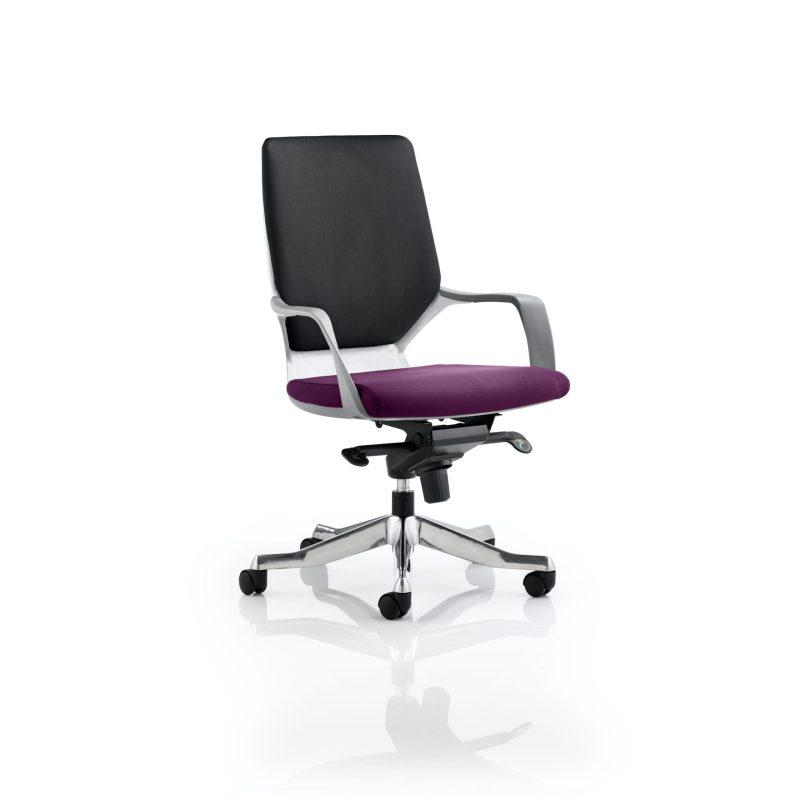 Xenon Executive White Shell Medium Back Bespoke Colour Seat Tansy Purple