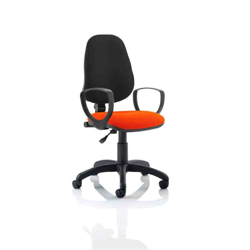 Eclipse I Lever Task Operator Chair Black Back Bespoke Seat With Loop Arms In Tabasco Red