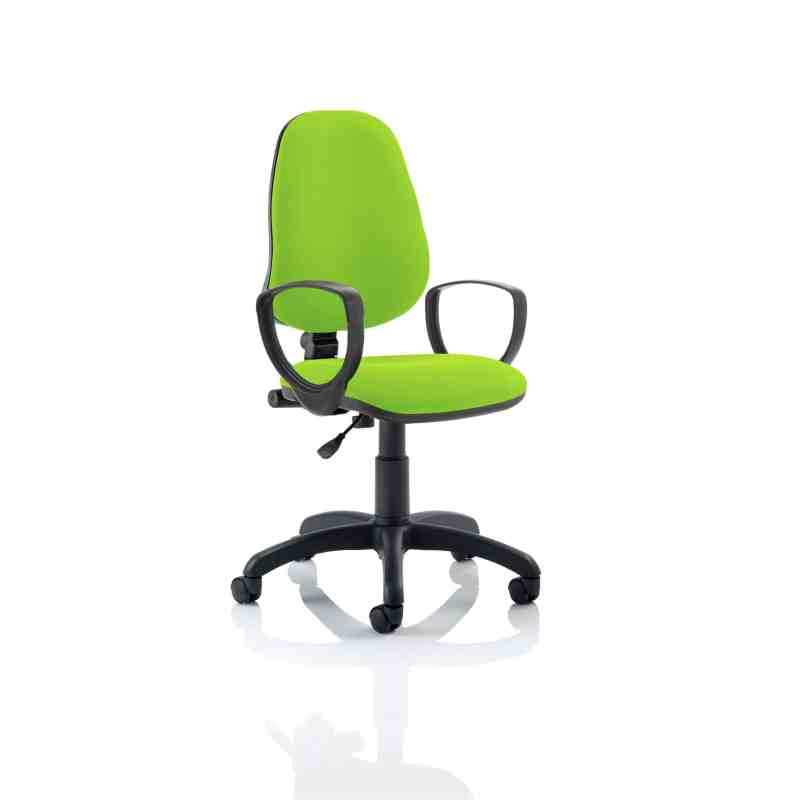 Eclipse I Lever Task Operator Chair Bespoke With Loop Arms In Myrhh Green