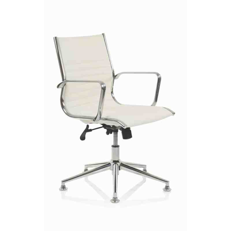 Ritz Executive Medium Back Chair Ivory Bonded Leather With Arms With Chrome Glides