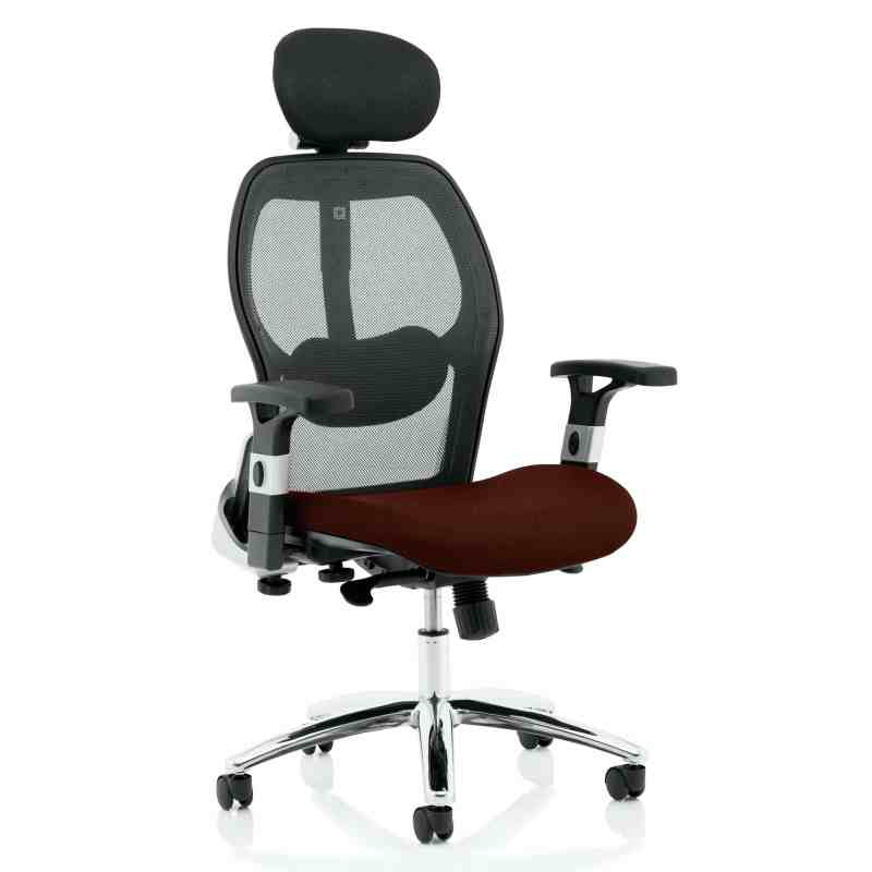 Sanderson II Upholstered Seat Only Ginseng Chilli Mesh Back Chair