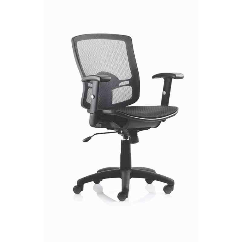 Palma Task Operator Chair Black Mesh Back Black With Arms