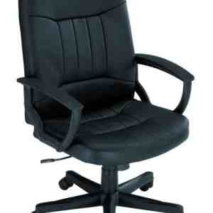 Hague Black Leather Executive Chair With Fixed Arms