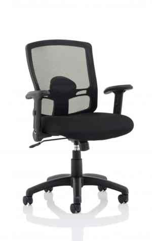 Portland Task Operator Chair Black Mesh with Height Adjustable and Folding Arms