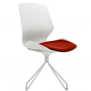 Florence Spindle White Frame Visitor Chair in Ginseng Chilli