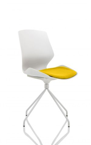 Florence Spindle White Frame Visitor Chair in Senna Yellow