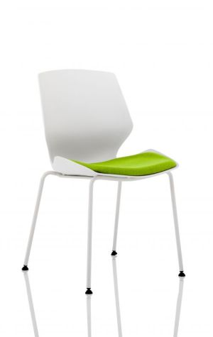 Florence White Frame Visitor Chair in Myrrh Green