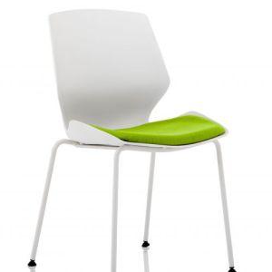 Florence White Frame Visitor Chair in Myrrh Green