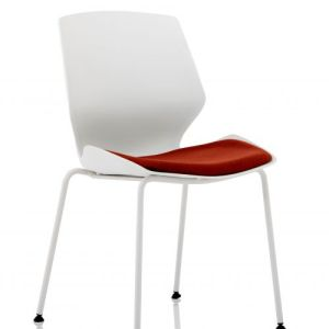 Florence White Frame Visitor Chair in Ginseng Chilli