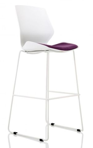 Florence White Frame High Stool in Tansy Purple