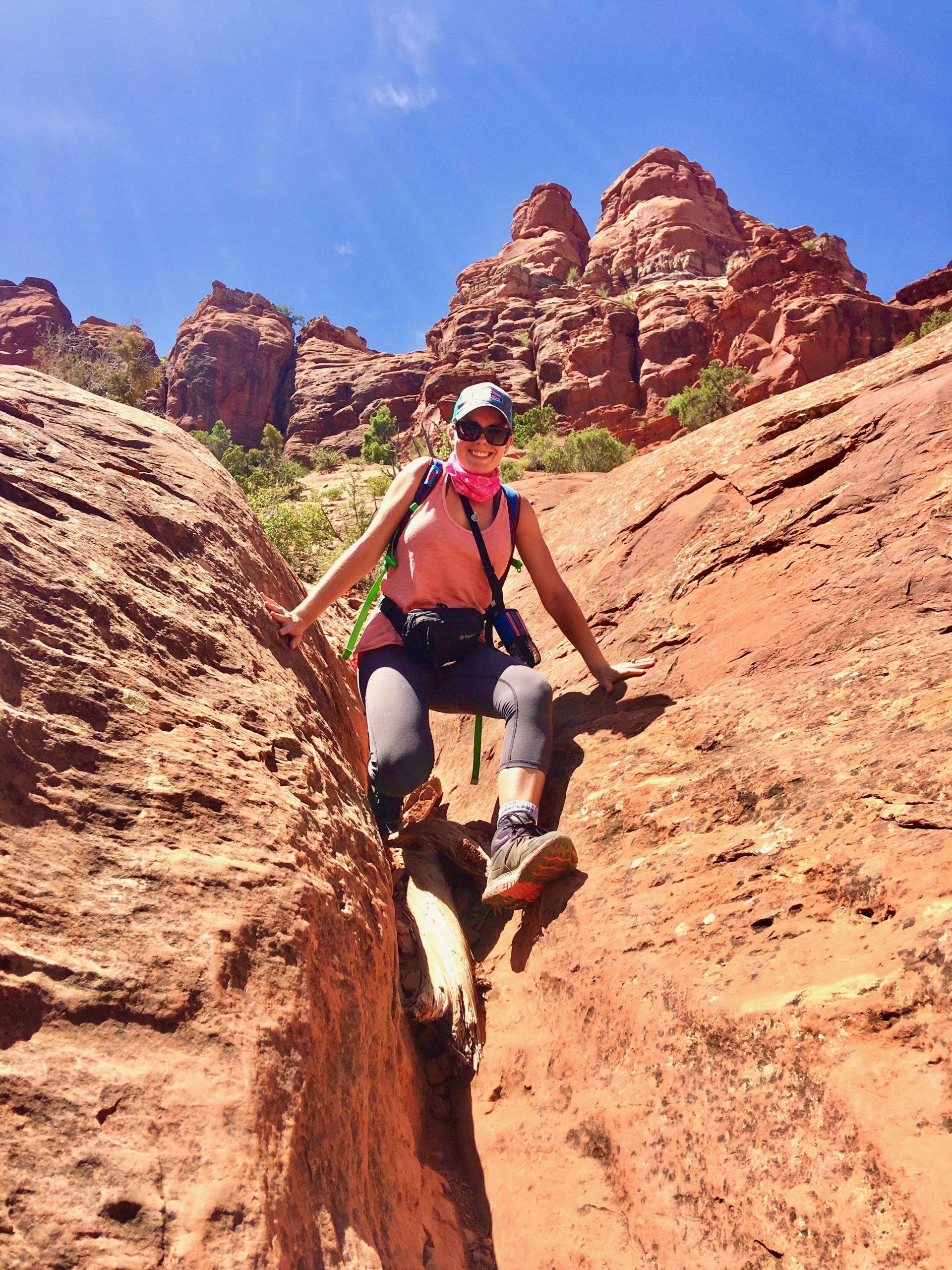 Briana Climbing Bell Rock Hike Sedona