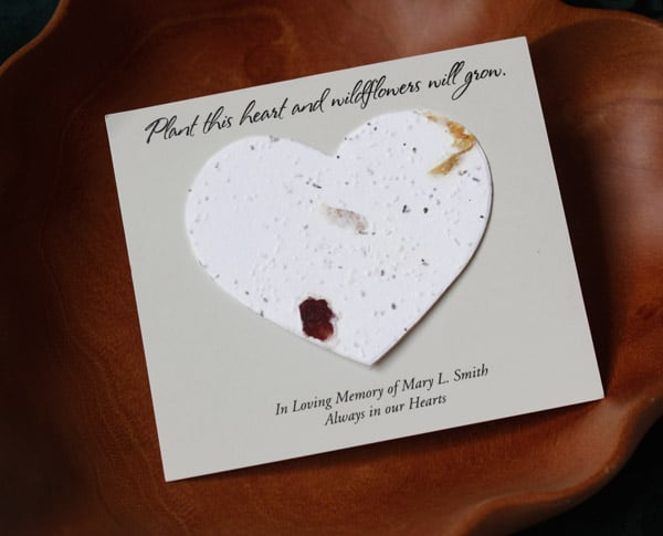 Seed Cards Heart Shaped For Memorial Service Grows Wildflowers Custom