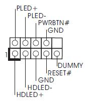 connettere pwr sw, reset sw, hdled e pwrled su mb