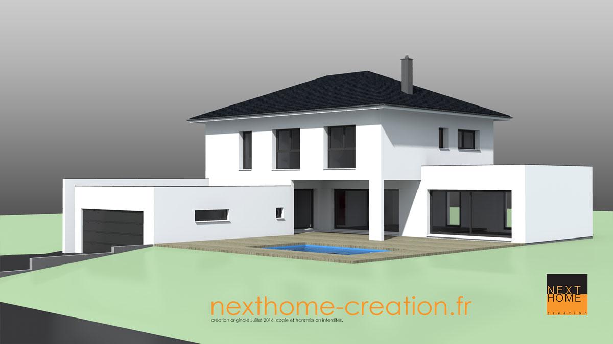 Maison avec toit 4 pans et garage accol toit plat  Nexthome Cration