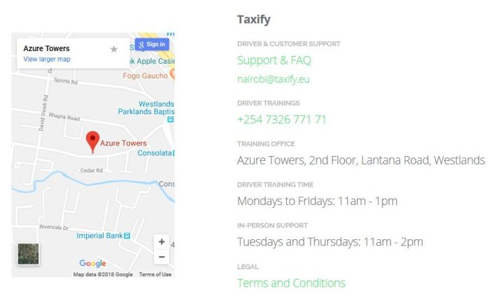 taxify kenya contacts