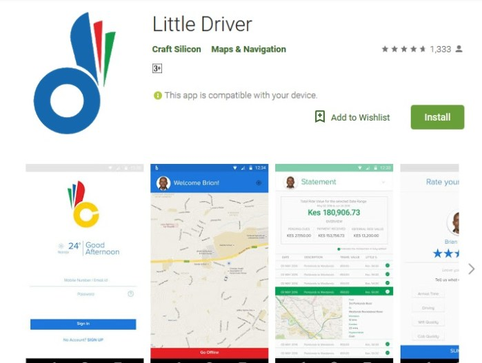 little cab driver application google play install