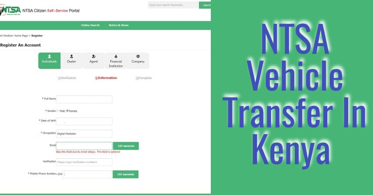 NTSA Motor Vehicle Transfer Form, Procedure & Fees in Kenya