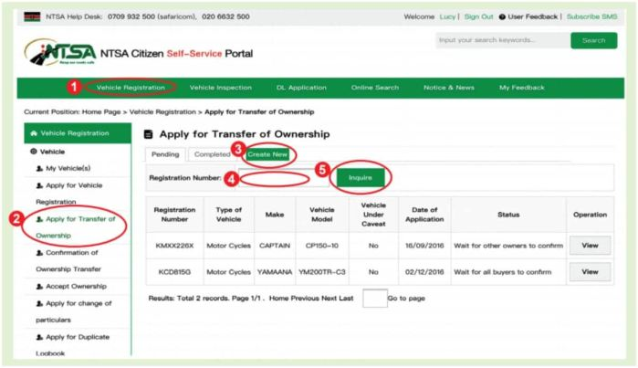 NTSA KRA Logbook Transfer of Ownership Online Application