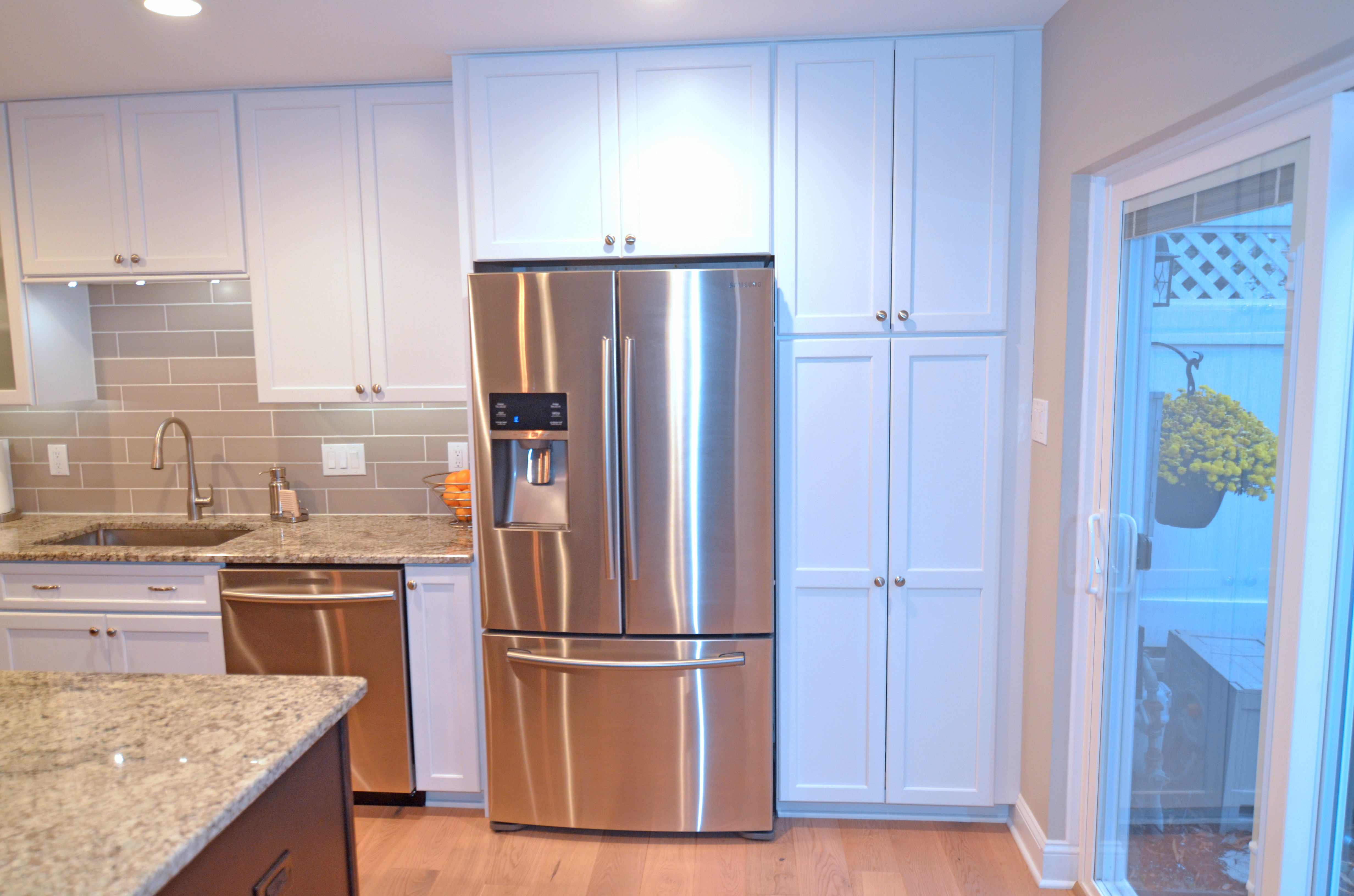 south jersey kitchen remodeling white corner cabinet pantry and refrigerator  next level