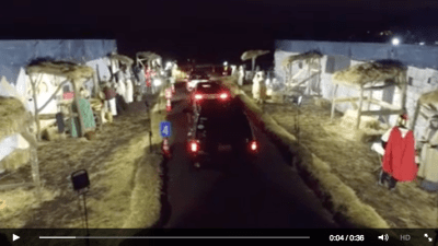 Drive-thru Christmas drone video