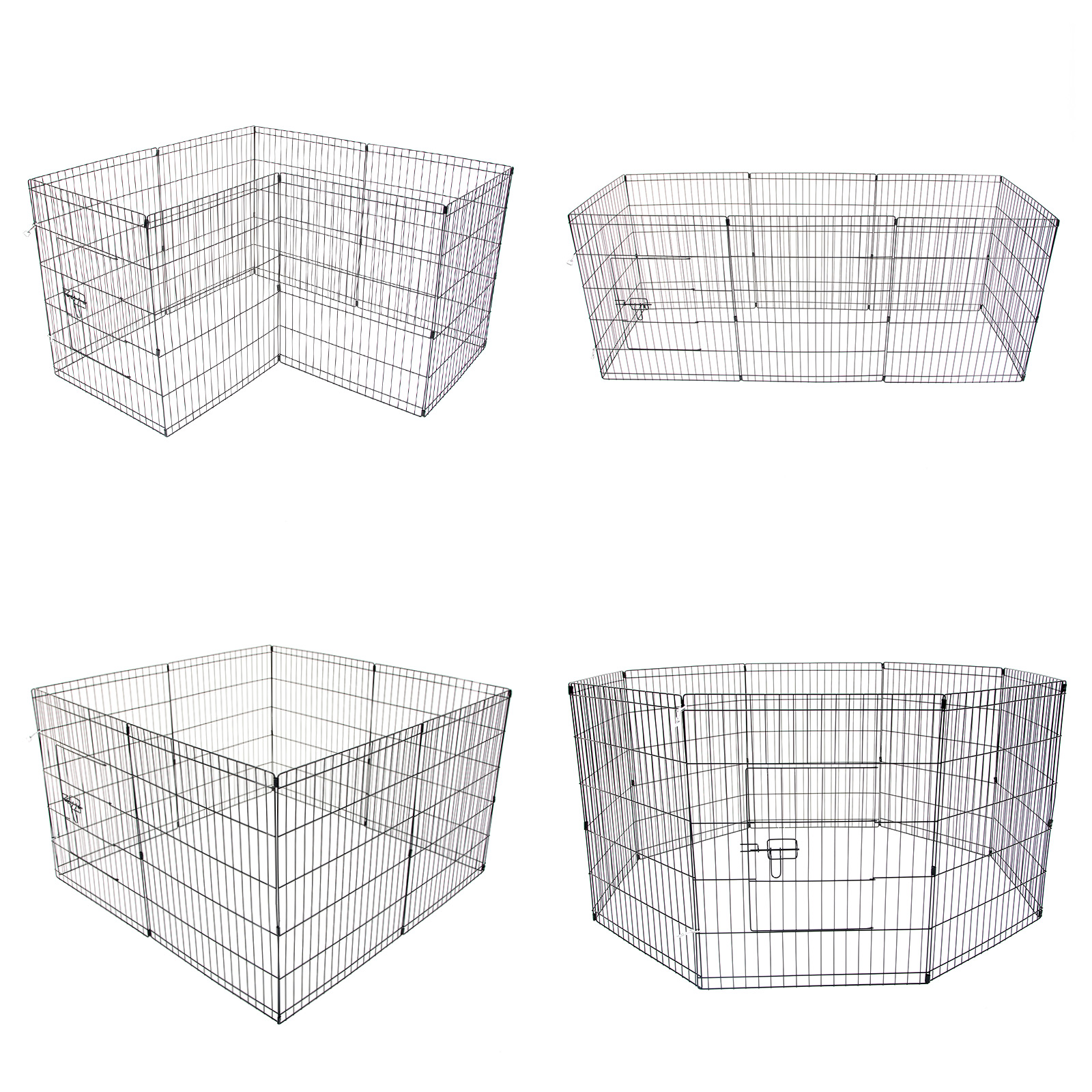 24 8 Panel Pet Playpen W Cover Portable Cage Fence