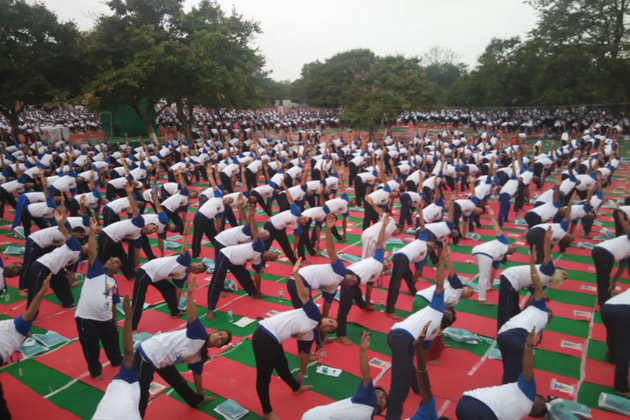 Yoga asanas being demonstrated at Yoga Day event in Chandigarh